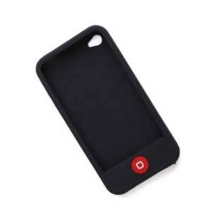 Black SILICON SKIN CASE for APPLE IPHONE 4