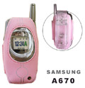 Samsung A670 Rubberized Pink Case With Swivel Belt Clip
